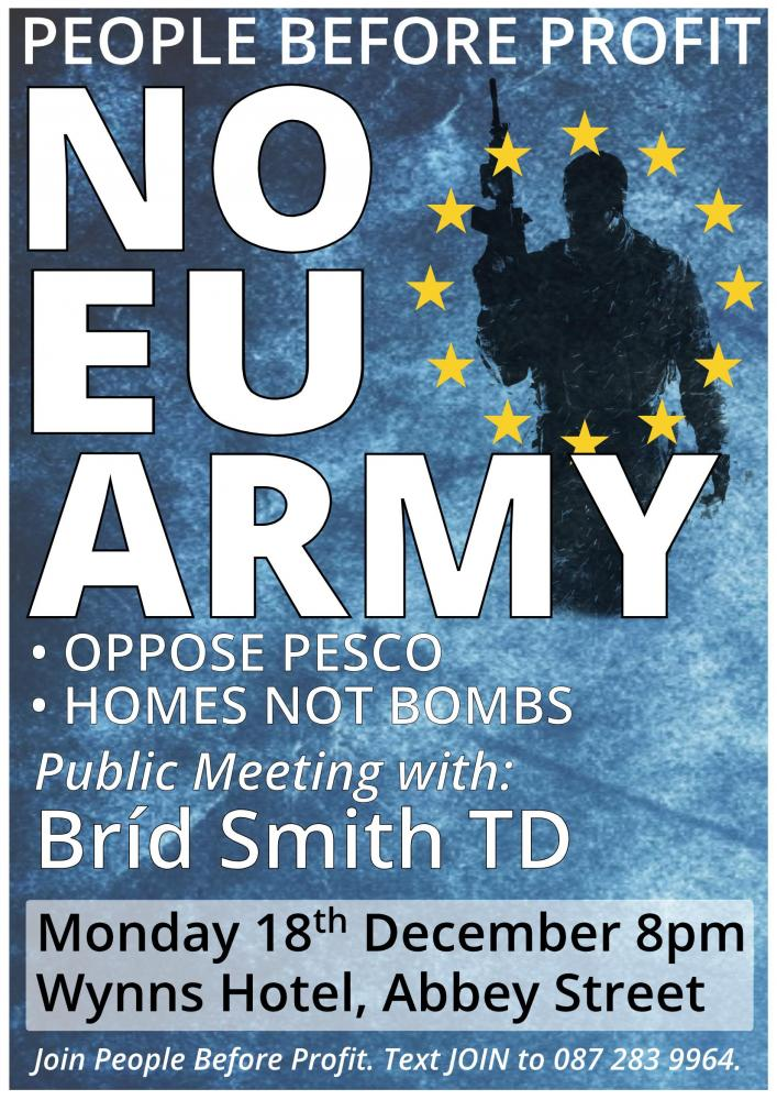 Public Meeting No EU Army Stop PESCO