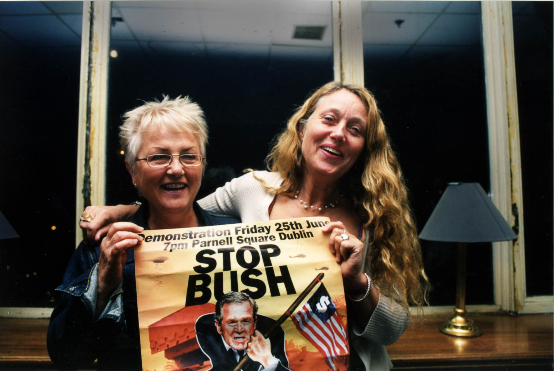 Two Women With Stop Bush Poster